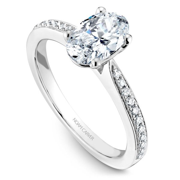 White Gold Engagement Ring With An Oval Centerpiece And 22 Diamonds. Image 2 Barron's Fine Jewelry Snellville, GA