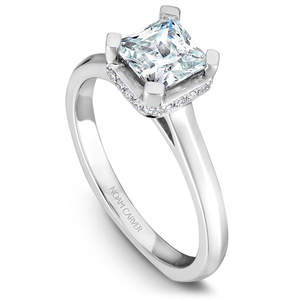 White Gold Engagement Ring With A Princess Cut Centerpiece And 20 Diamonds. Image 4 Barron's Fine Jewelry Snellville, GA