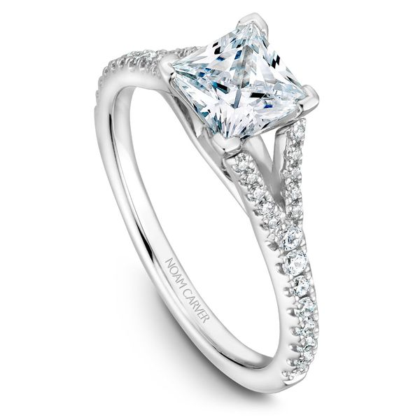 White Gold Engagement Ring With A Princess Cut Centerpiece And 36 Diamonds. Image 4 Barron's Fine Jewelry Snellville, GA