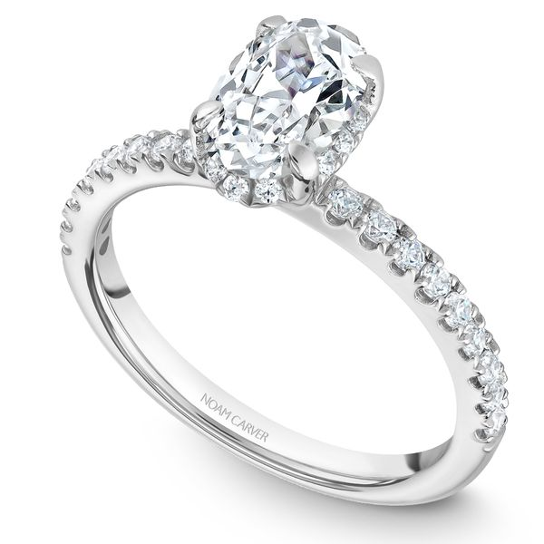 White Gold Engagement Ring With An Oval Centerpiece And 30 Diamonds. Image 2 Barron's Fine Jewelry Snellville, GA
