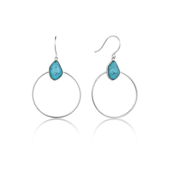 TURQUOISE FRONT HOOP EARRINGS Barron's Fine Jewelry Snellville, GA