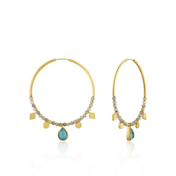 TURQUOISE LABRADORITE HOOP EARRINGS Barron's Fine Jewelry Snellville, GA