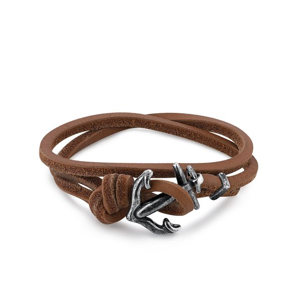 SEAFARER| Brown Leather Knot Bracelet with Anchor Barron's Fine Jewelry Snellville, GA