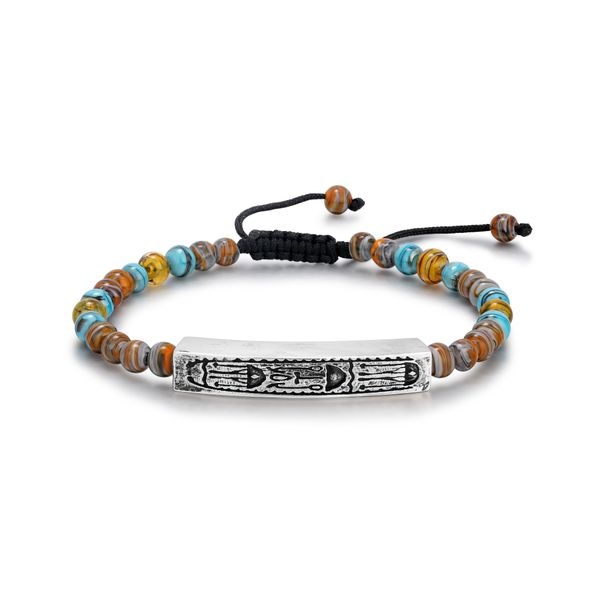 VITAL | Blue and Brown Murano Glass Beaded Bracelet with Hieroglyphics Bar Barron's Fine Jewelry Snellville, GA