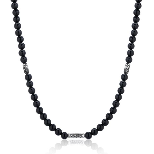 MANDERE | Black Agate and Silver Beaded Necklace Barron's Fine Jewelry Snellville, GA
