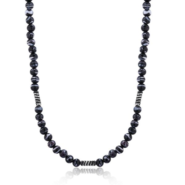 FATHOM |Black-Grey Murano Glass Beaded Necklace Barron's Fine Jewelry Snellville, GA