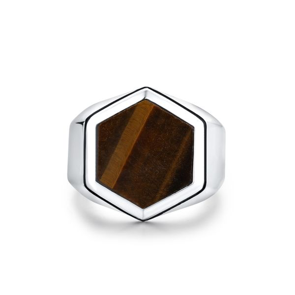 LIGHTNING | Ring with Large Hexagonal Tiger Eye Barron's Fine Jewelry Snellville, GA