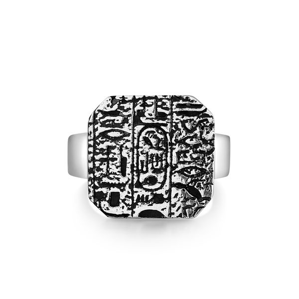 ORIGIN|Signet-Style Ring with Textured Hieroglyphics Barron's Fine Jewelry Snellville, GA