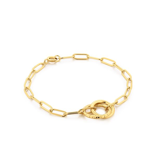 AMOUR | Paper Clip Chain Bracelet with Textured Linked Rings Barron's Fine Jewelry Snellville, GA