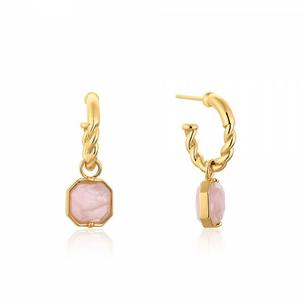 FUCHSIA | Rope Hoop Earrings with Rose Quartz Charms Barron's Fine Jewelry Snellville, GA