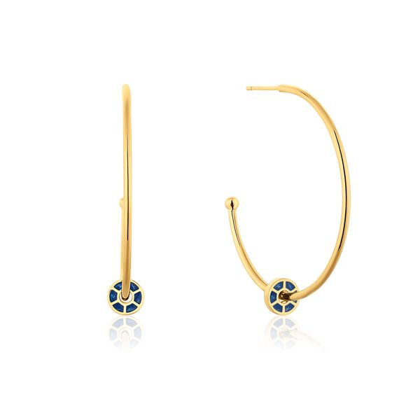 CLIQUE | Gold Open Hoops with Blue Enamel Disks Barron's Fine Jewelry Snellville, GA