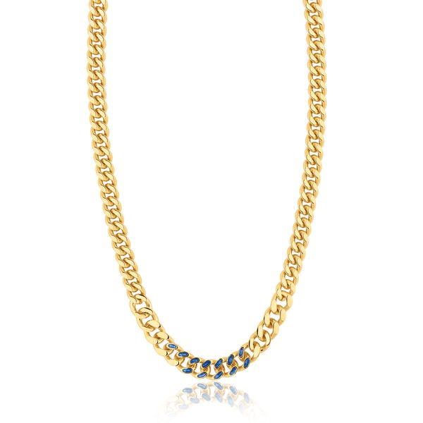 VALOR | Cuban Link Chain with Blue Enamel Detail Barron's Fine Jewelry Snellville, GA