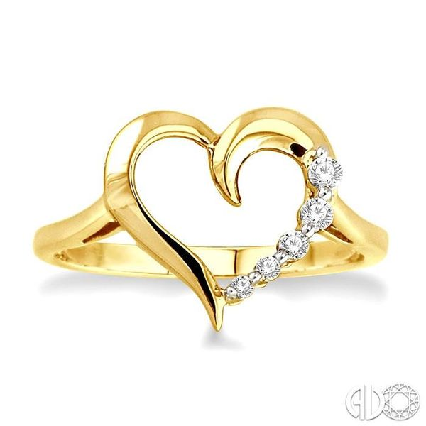 1/10 Ctw Round Cut Diamond Journey Heart Ring in 10K Yellow Gold Image 2 Becker's Jewelers Burlington, IA