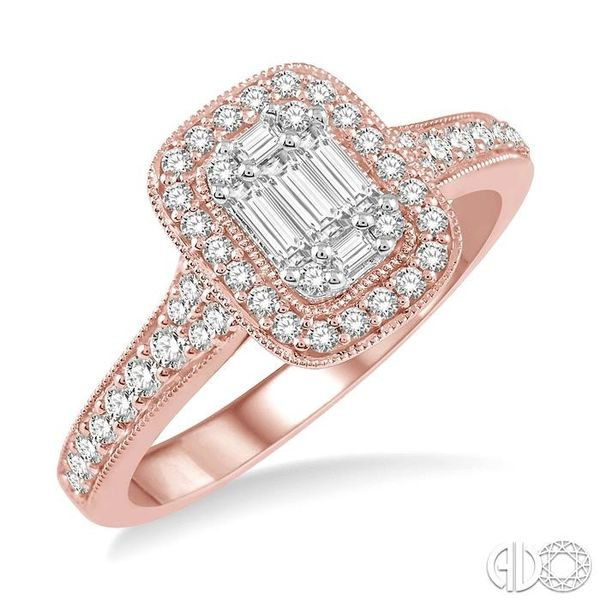 5/8 ct Round Cut and Baguette Diamond Ring in 14K Rose and White Gold Becker's Jewelers Burlington, IA