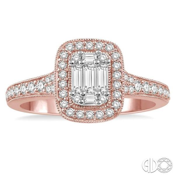 5/8 ct Round Cut and Baguette Diamond Ring in 14K Rose and White Gold Image 2 Becker's Jewelers Burlington, IA