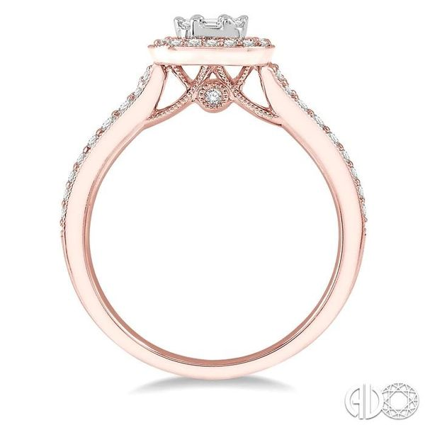 5/8 ct Round Cut and Baguette Diamond Ring in 14K Rose and White Gold Image 3 Becker's Jewelers Burlington, IA