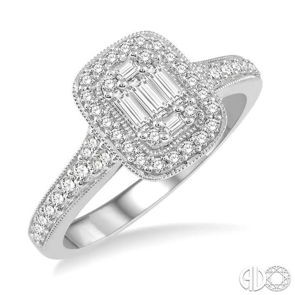 5/8 ct Round Cut and Baguette Diamond Ring in 14K White Gold Becker's Jewelers Burlington, IA