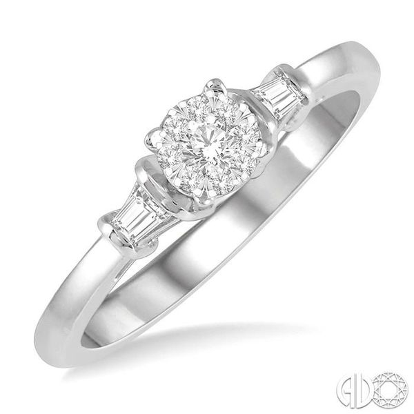 1/5 ctw Round Cut & Baguette Diamond Lovebright Engagement Ring in 14K White Gold Becker's Jewelers Burlington, IA
