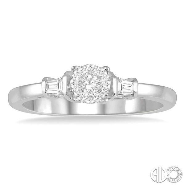 1/5 ctw Round Cut & Baguette Diamond Lovebright Engagement Ring in 14K White Gold Image 2 Becker's Jewelers Burlington, IA