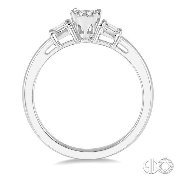1/5 ctw Round Cut & Baguette Diamond Lovebright Engagement Ring in 14K White Gold Image 3 Becker's Jewelers Burlington, IA