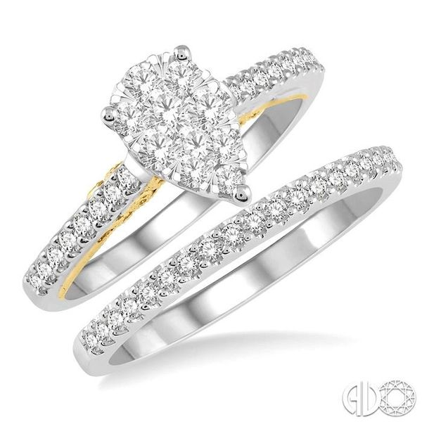 3/4 Ctw Diamond Lovebright Wedding Set with 1/2 Ctw Pear Shape Engagement Ring inWhite and Yellow Gold and 1/6 Ctw Wedding Band  Becker's Jewelers Burlington, IA
