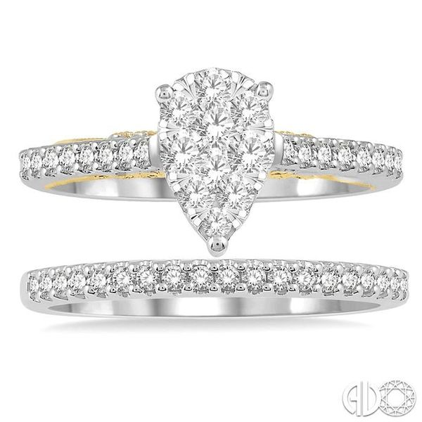 3/4 Ctw Diamond Lovebright Wedding Set with 1/2 Ctw Pear Shape Engagement Ring inWhite and Yellow Gold and 1/6 Ctw Wedding Band  Image 2 Becker's Jewelers Burlington, IA