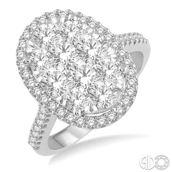 2 Ctw Round Diamond Lovebright Halo Engagement Ring in 14K White and Yellow Gold Becker's Jewelers Burlington, IA