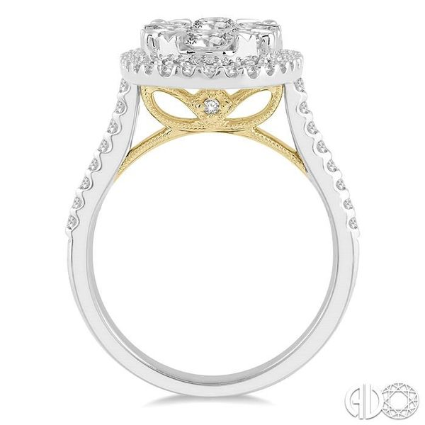 2 Ctw Round Diamond Lovebright Halo Engagement Ring in 14K White and Yellow Gold Image 3 Becker's Jewelers Burlington, IA