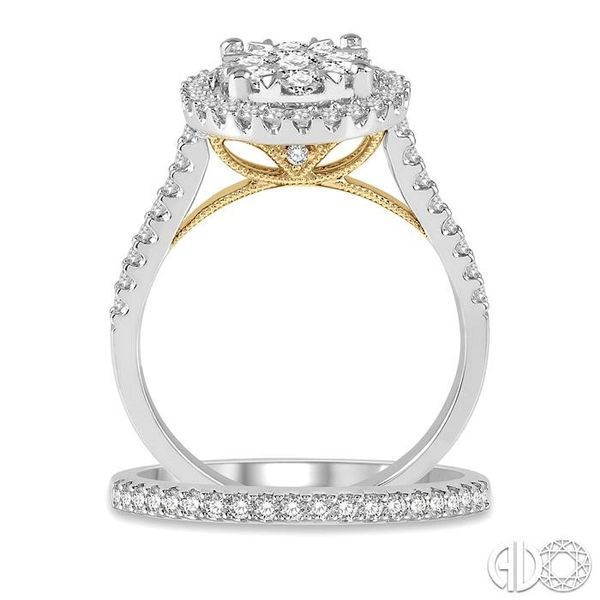 1 1/5 Ctw Lovebright Diamond Wedding Set in 14K With 1 Ctw Oval Shape Engagement Ring in White and Yellow Gold and 1/5 Ctw Weddi Image 3 Becker's Jewelers Burlington, IA