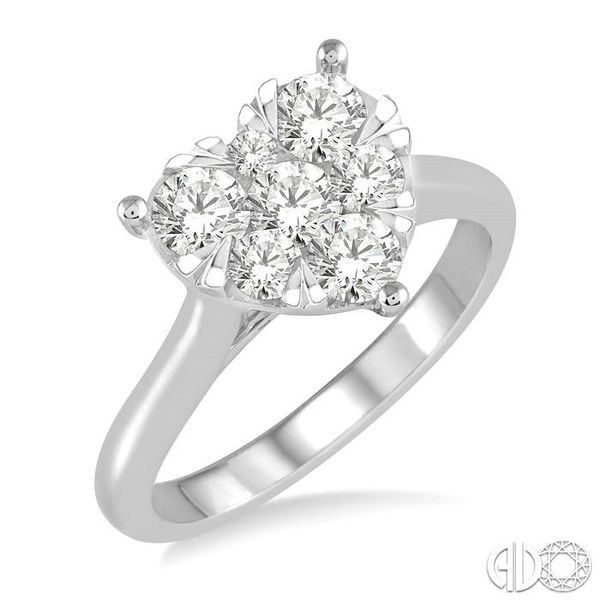 1/2 Ctw Round Cut Diamond Heart Shape Lovebright Ring in 14K White Gold Becker's Jewelers Burlington, IA