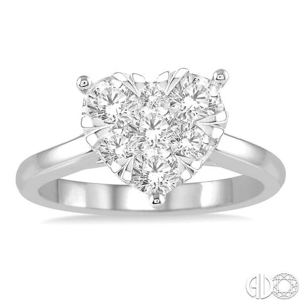 1/2 Ctw Round Cut Diamond Heart Shape Lovebright Ring in 14K White Gold Image 2 Becker's Jewelers Burlington, IA