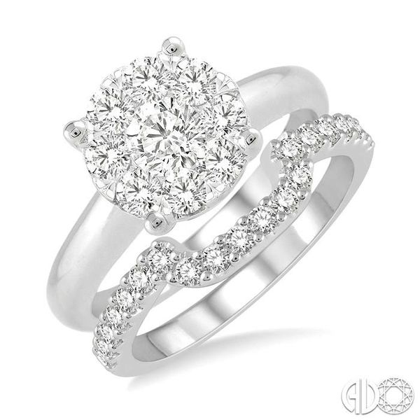 1 ctw Lovebright Round Cut Diamond Wedding Set With 3/4 ctw Circular Engagement Ring and 1/3 ctw U-Shape Center Wedding Band in  Becker's Jewelers Burlington, IA