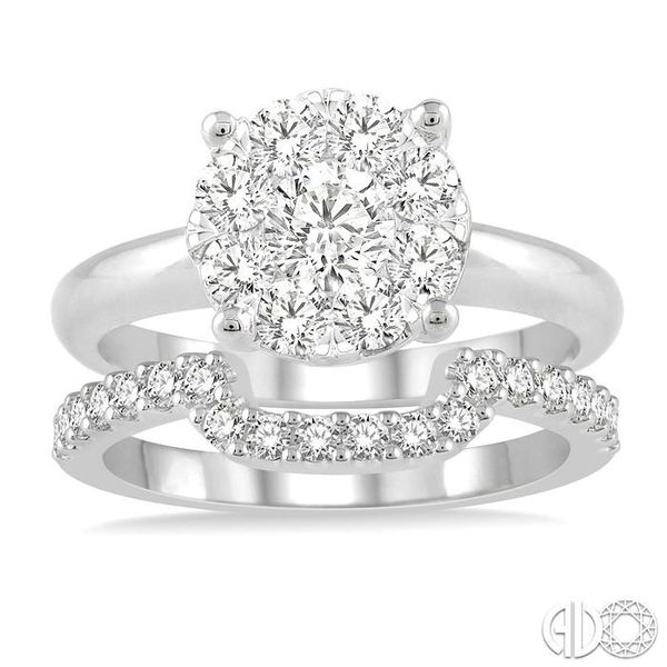 1 ctw Lovebright Round Cut Diamond Wedding Set With 3/4 ctw Circular Engagement Ring and 1/3 ctw U-Shape Center Wedding Band in  Image 2 Becker's Jewelers Burlington, IA