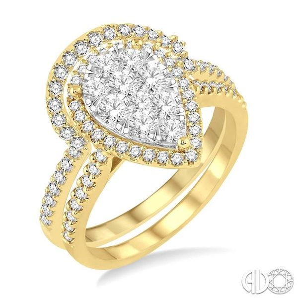 1 1/4 Ctw Diamond Lovebright Wedding Set with 1 Ctw Engagement Ring and 1/4 Ctw Wedding Band in 14K Yellow and White Gold Becker's Jewelers Burlington, IA
