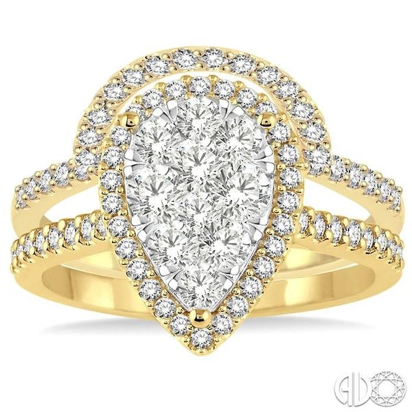 1 1/4 Ctw Diamond Lovebright Wedding Set with 1 Ctw Engagement Ring and 1/4 Ctw Wedding Band in 14K Yellow and White Gold Image 2 Becker's Jewelers Burlington, IA