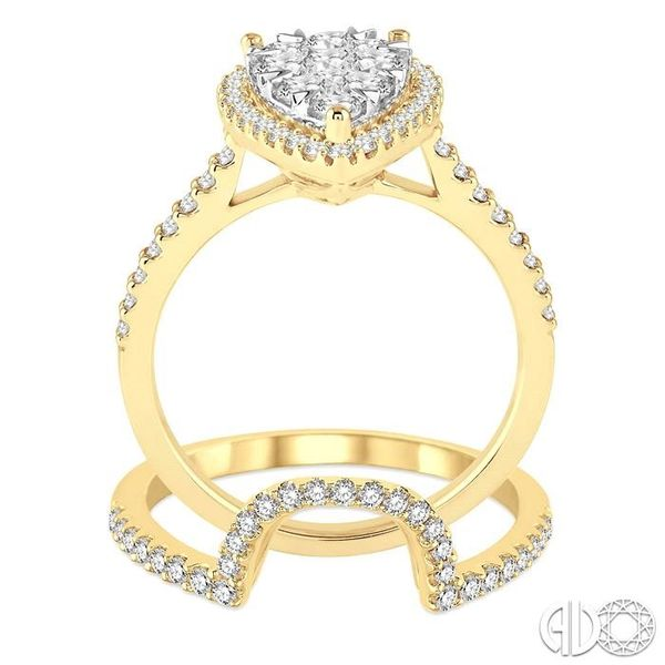 1 1/4 Ctw Diamond Lovebright Wedding Set with 1 Ctw Engagement Ring and 1/4 Ctw Wedding Band in 14K Yellow and White Gold Image 3 Becker's Jewelers Burlington, IA