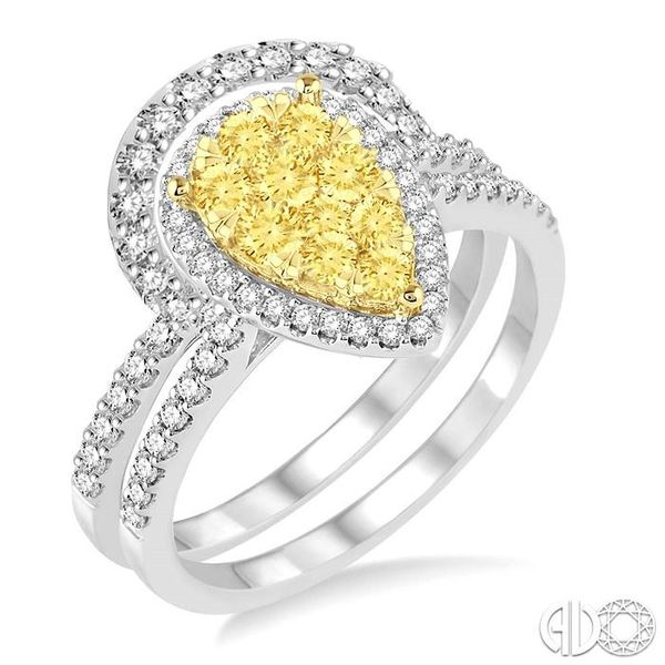1 Ctw Pear Shape White and Yellow Diamond Lovebright Wedding Set with 3/4 Ctw Engagement Ring and 1/4 Ctw Wedding Band in 14K Wh Becker's Jewelers Burlington, IA