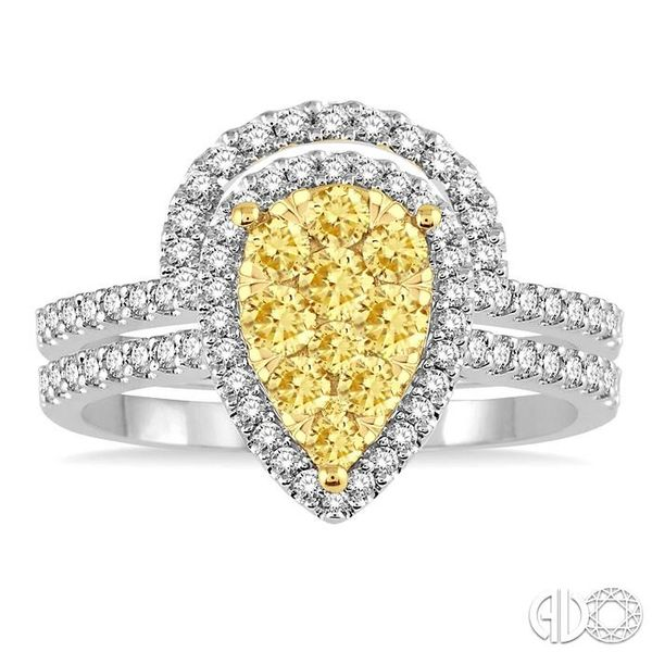 1 Ctw Pear Shape White and Yellow Diamond Lovebright Wedding Set with 3/4 Ctw Engagement Ring and 1/4 Ctw Wedding Band in 14K Wh Image 2 Becker's Jewelers Burlington, IA