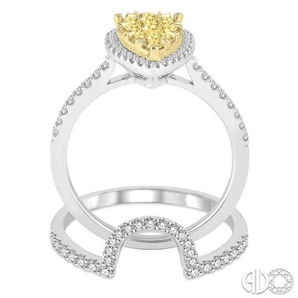 1 Ctw Pear Shape White and Yellow Diamond Lovebright Wedding Set with 3/4 Ctw Engagement Ring and 1/4 Ctw Wedding Band in 14K Wh Image 3 Becker's Jewelers Burlington, IA