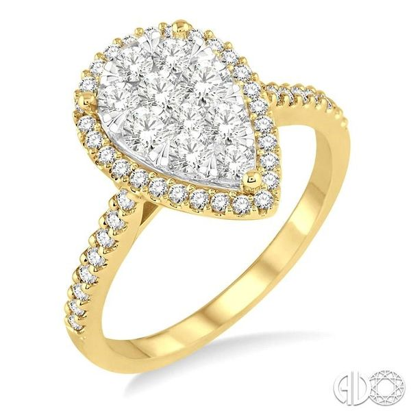 1 Ctw Pear Shape Diamond Lovebright Ring in 14K Yellow and White Gold Becker's Jewelers Burlington, IA