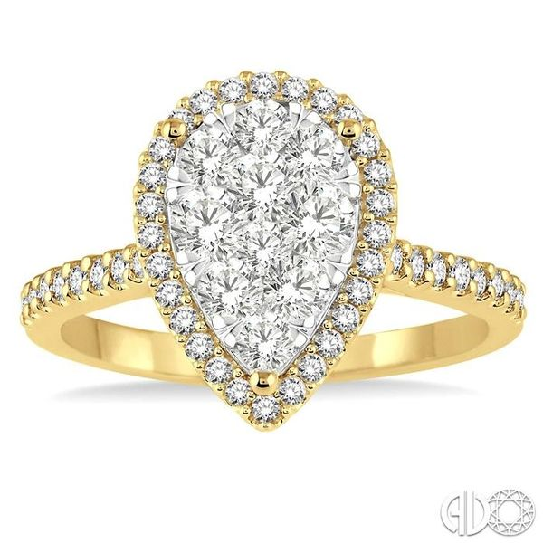 1 Ctw Pear Shape Diamond Lovebright Ring in 14K Yellow and White Gold Image 2 Becker's Jewelers Burlington, IA