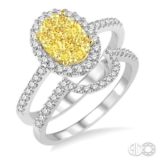 1 Ctw Oval Shape Yellow and White Diamond Lovebright Wedding Set with 3/4 Ctw Engagement Ring and 1/4 Ctw Wedding Band in 14K Wh Becker's Jewelers Burlington, IA