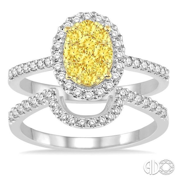 1 Ctw Oval Shape Yellow and White Diamond Lovebright Wedding Set with 3/4 Ctw Engagement Ring and 1/4 Ctw Wedding Band in 14K Wh Image 2 Becker's Jewelers Burlington, IA