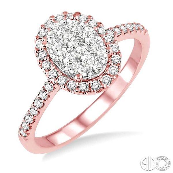 3/4 Ctw Oval Shape Diamond Lovebright Ring in 14K Rose and White Gold Becker's Jewelers Burlington, IA