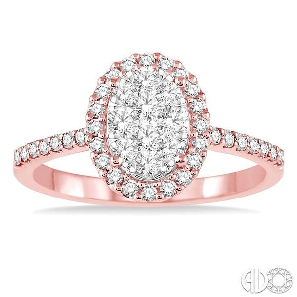 3/4 Ctw Oval Shape Diamond Lovebright Ring in 14K Rose and White Gold Image 2 Becker's Jewelers Burlington, IA