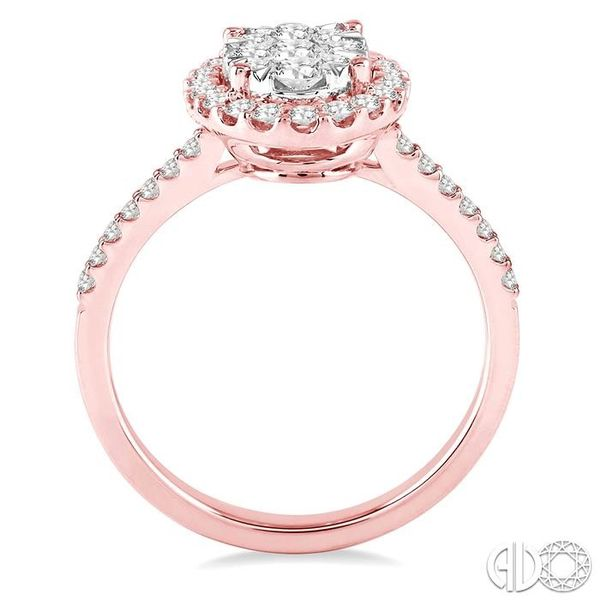 3/4 Ctw Oval Shape Diamond Lovebright Ring in 14K Rose and White Gold Image 3 Becker's Jewelers Burlington, IA