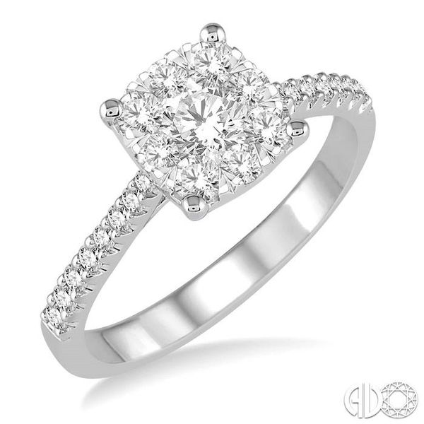 3/4 Ctw Round Cut Diamond Square Shape Lovebright Ring in 14K White Gold Becker's Jewelers Burlington, IA