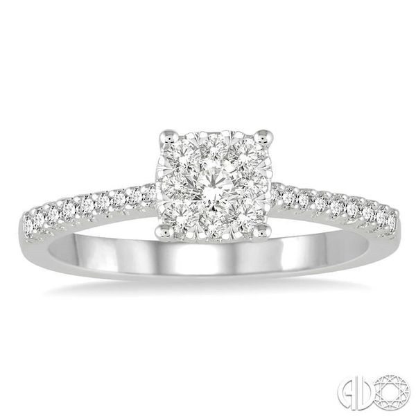 3/4 Ctw Round Cut Diamond Square Shape Lovebright Ring in 14K White Gold Image 2 Becker's Jewelers Burlington, IA