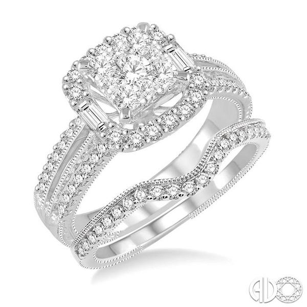 1 1/6 Ctw Diamond Lovebright Square Shape Wedding Set with 1 Ctw Engagement Ring and 1/5 Ctw Wedding Band in 14K White Gold Becker's Jewelers Burlington, IA