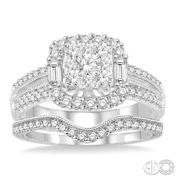 1 1/6 Ctw Diamond Lovebright Square Shape Wedding Set with 1 Ctw Engagement Ring and 1/5 Ctw Wedding Band in 14K White Gold Image 2 Becker's Jewelers Burlington, IA